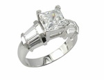 Kristen 1 Carat Princess Cut Cubic Zirconia Baguette Solitaire Engagement Ring