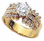 Scallo 1.5 Carat Round Cubic Zirconia Channel Set Princess Cut Engagement Ring