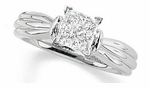 Ribbed 1 Carat Princess Cut Cubic Zirconia Solitaire Engagement Ring