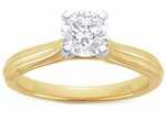 Peretti Fluted 1 Carat Cubic Zirconia Round Cathedral Style Solitaire Engagement Ring