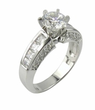 1 Carat Round Cubic Zirconia Princess Cut Channel Set Pave Solitaire Engagement Ring