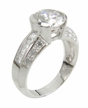 Cantori 2 Carat Semi Bezel Set Round Cubic Zirconia Channel Set Princess Cut and Pave Solitaire Engagement Ring