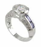 Solange 2 Carat Round Semi Bezel Cubic Zirconia Baguette Channel Set Solitaire Engagement Ring