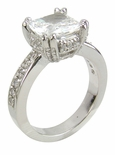 Cushion Cut 2.5 Carat 8mm Split Prong Set Cubic Zirconia Pave Solitaire Engagement Ring