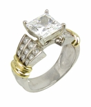 Vaider 1.5 Carat Princess Cut Square Cubic Zirconia Channel Set Round Two Tone Solitaire Engagement Ring