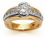 Galia Two Tone 1 Carat Round Cubic Zirconia Semi Bezel Set Solitaire Engagement Ring