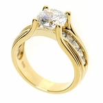 Telluride 2 Carat Round Cubic Zirconia Channel Set Princess Cut Solitaire Engagement Ring