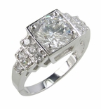 Avellino 2 Carat Round Cubic Zirconia Graduated Pave Solitaire Engagement Ring