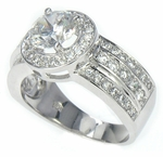 Isadora 1.25 Carat Round Cubic Zirconia Halo Three Row Pave Solitaire Engagement Ring