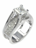 Summit 1 Carat Princess Cut Cubic Zirconia Pave Set Round Solitaire Engagement Ring