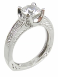 Lundy 1 Carat Round Cubic Zirconia Pave Engraved U Shaped European Shank Solitaire Engagement Ring
