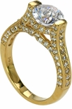Calais 1.5 Carat Round Cubic Zirconia Tension Set Pave Solitaire Engagement Ring