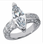 Martinik 3 Carat Marquise Cubic Zirconia Pave Set Round Solitaire Engagement Ring