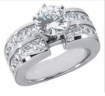 Bandalina 2.5 Carat Round Cubic Zirconia Channel Set Princess Cut Solitaire Engagement Ring