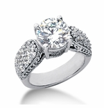 Gramercy Round Cubic Zirconia Pave Milgrain Engraved Solitaire Engagement Ring Series