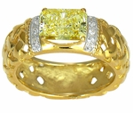 Basteque 1 Carat Emerald Radiant Cut Canary Cubic Zirconia Weaved Solitaire Engagement Ring