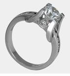 Churchill 1.25 Carat Round Cubic Zirconia U Shaped Prong Set Channel Solitaire Engagement Ring