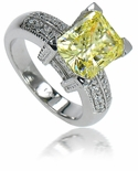 4 Carat Emerald Radiant Cut Cubic Zirconia Canary Decadence Solitaire Engagement Ring