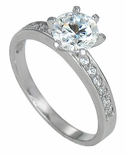 Solstice 1 Carat Round Cubic Zirconia Pave Set Solitaire Engagement Ring