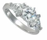 Monica 1 Carat Round Marquise Trillion Cubic Zirconia Solitaire Engagement Ring