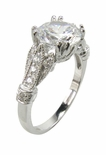 Roman Greco 2 Carat Round Cubic Zirconia Pave Solitaire Engagement Ring
