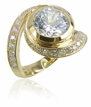 Pittston 3 Carat Round Bezel Set Cubic Zirconia Pave Swirl Solitaire Engagement Ring