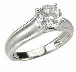 Sleek and Modern 1 Carat Round Cubic Zirconia Cathedral Style Solitaire Engagement Ring