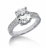 Claudine Cubic Zirconia Pave Engraved Solitaire Engagement Ring Series