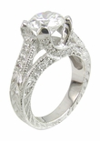 Gweneth 2 Carat Round Cubic Zirconia Pave Engraved Milgrain Antique Estate Style Solitaire