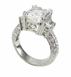 Trapezoid Scintillation 5.5 Carat Emerald Radiant Cut Cubic Zirconia Trapezoid Antique Estate Style Ring