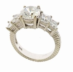 Corsica 1.5 Carat Round Cubic Zirconia Princess Cut Engraved Antique Estate Style Ring
