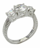 Bryant 1 Carat Round Cubic Zirconia Three Stone Antique Estate Style Engraved Anniversary Ring