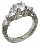 Decoti 1 Carat Round Center Trillion Princess Cut Engraved Estate Style Cubic Zirconia Ring