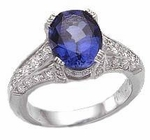 Pacifica 2.5 Carat Oval Lab Created Sapphire Gemstone Center Cubic Zirconia Pave Solitaire