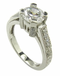 Romain 1.5 Carat Round Cubic Zirconia Pave Estate Engraved Antique Style Ring