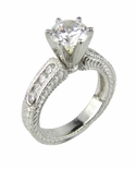 DecoStar 1.5 Carat Round Cubic Zirconia Engraved Channel Set Estate Style Solitaire