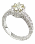 Hannah 1 Carat Round Cubic Zirconia Engraved Antique Estate Style Solitaire