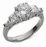 Round 1.5 Carat Cubic Zirconia Princess Cut Square and Baguette Engraved Estate Style Antique Ring