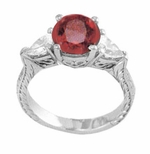 Enchantress 2 Carat Round and Pear Cubic Zirconia Engraved Three Stone Ring