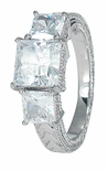 Heartfield 1.5 Carat Princess Cut Cubic Zirconia Three Stone Engraved Ring