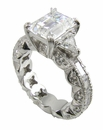 Trillion Accent Designer Cubic Zirconia Engagement Rings
