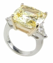 Cushion Cut with Trillions Three Stone Cubic Zirconia Engagement Rings