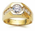 Armstrong Channel Set Round Cubic Zirconia Men's Ring