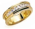 Leone Unisex Channel Set Cubic Zirconia Round Pipe Band Wedding Ring