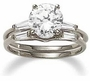 Round Cubic Zirconia Baguette Solitaire with Matching Band Wedding Sets