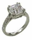 Asscher Cut Cubic Zirconia Double Prong Set Cathedral Pave Solitaire Engagement Ring
