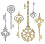 Ziamond Cubic Zirconia Pave Set Key Pendants