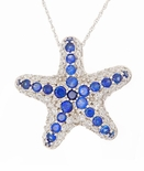 Sea Star Nautical Star Fish Man Made Sapphire Pave Set Pendant