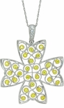 Delha Two Tone Canary Cubic Zirconia Bezel Set Cross Pendant