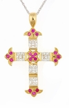 Lanier Princess Cut Cubic Zirconia Man Made Round Ruby Cross Pendant